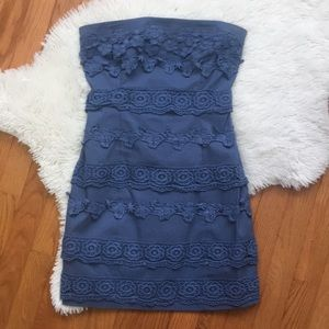Blue crochet strapless mini dress